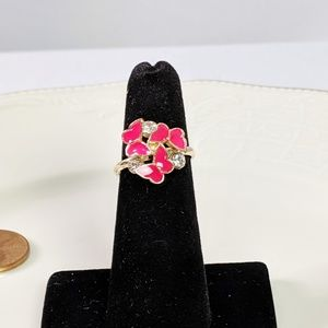 Jewelry - 🌜3 for $25🌛Pink Butterfly Gold Tone Adj Ring